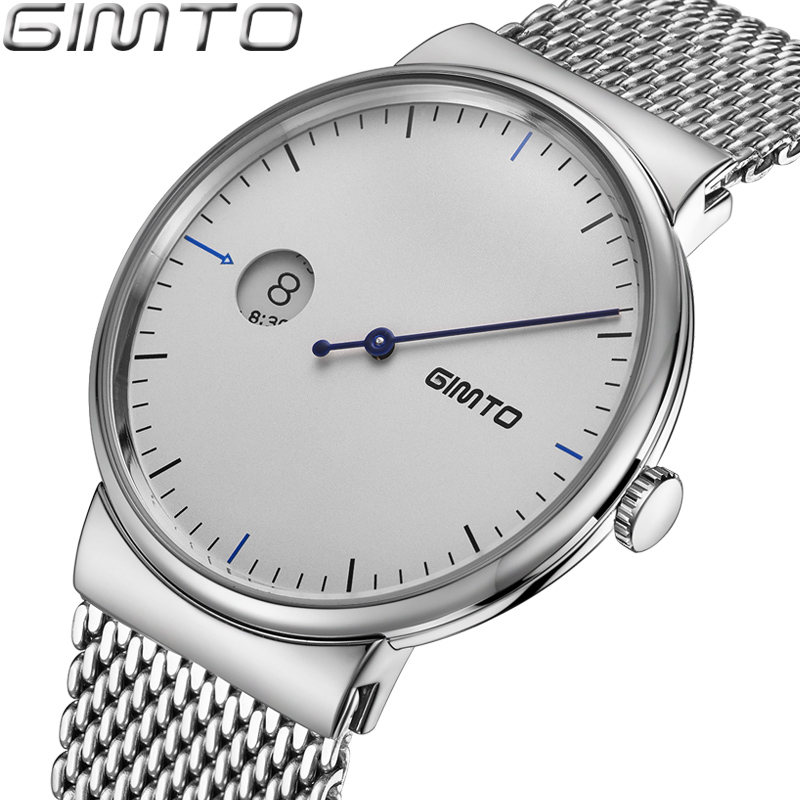 GIMTO Brand Creative Men Watch Ultra Thin Luxury Steel Quartz Wristwatch Calendar Male Clock Female Sport Watches Relogio Montre 2017 luxury brand gimto sport watches women leather ultra slim gold quartz watch male female clock relogio feminino montre gift