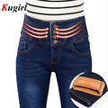 Women's winter warm thicken skinny jeans Lady's high waist plus velvet denim pants Female blue and black long trousers