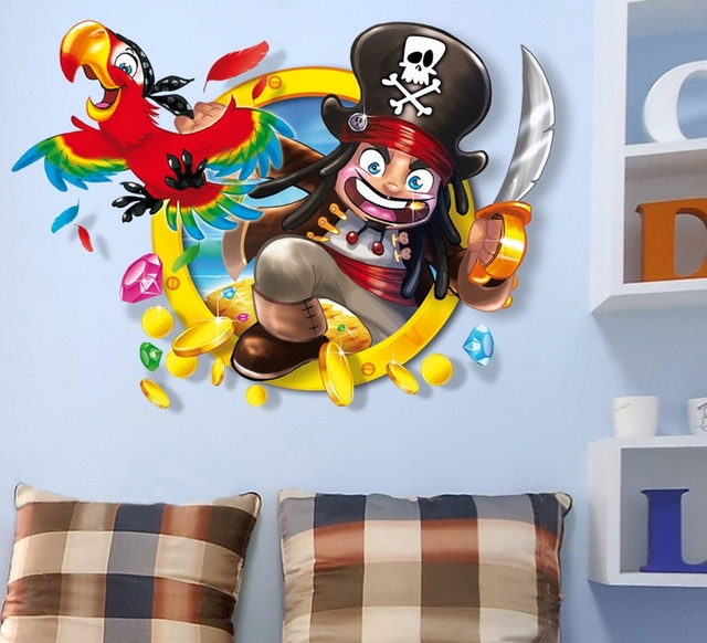 Muurstickers Kinderkamer Piraat.Nieuwe Creatieve Piraat Muurstickers Decoratie Nieuwe Huis Woonkamer