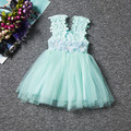 6 Color Girls Mesh Dress Flower Pearl Hollow Summer Dresses Cute Little Child Mini Floral Dress for Kids 2 to 6 Years