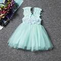 6 Meninas de Cor Vestido de Malha Flor Pérola Oco Vestidos de Verão Bonito pouco Criança Mini Vestido Floral para Crianças 2 a 6 Anos
