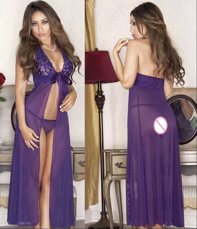 MILLYN Lace Transparent Long Robes Sexy lingerie long dress 88 Underwear Lace Elegant Women Temptation Lace Lingerie in Babydolls Chemises from Novelty Special Use