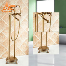 Suguword Antique Brass Floor Standing Faucet Hot and Cold Water Switch Mixer Tel Phone Style(China)