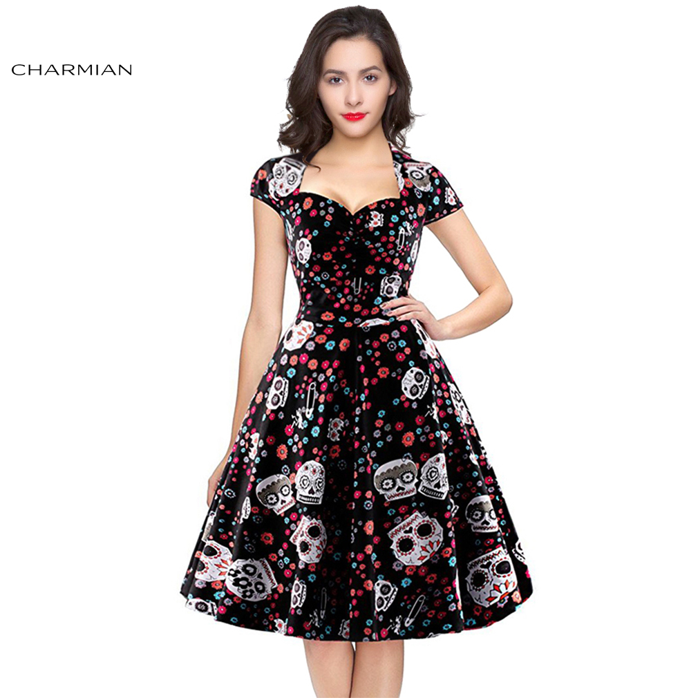 Charmian Women's Summer 1950s Vintage Rockabilly Dress Sexy Retro Skull Print Halloween Party Casual Dress Plus Size Vestidos