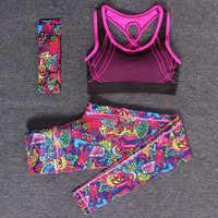 Mulheres Conjuntos de Yoga Fitness Esportes Ginásio Treino Sportswear 3 pçs/set Treino Headband + Bra + Impresso Calças de Yoga Esporte Leggings ternos
