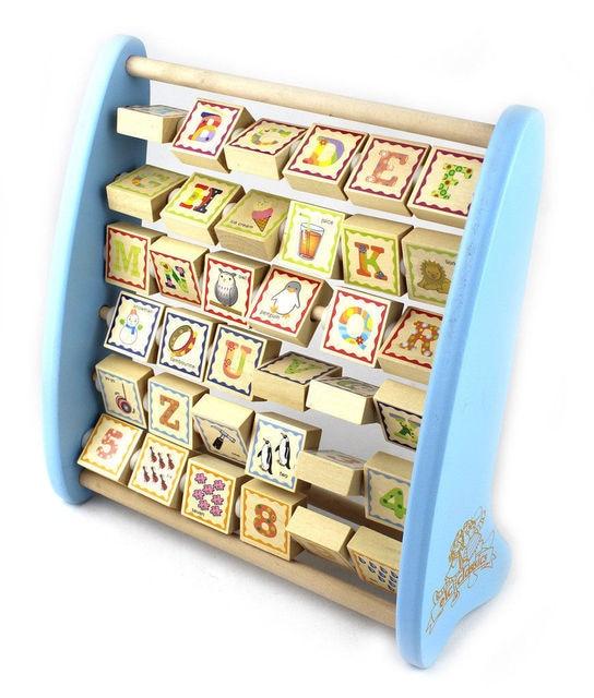 ELC wooden toy gift wood block alphabet teaching frame letter digit 1set