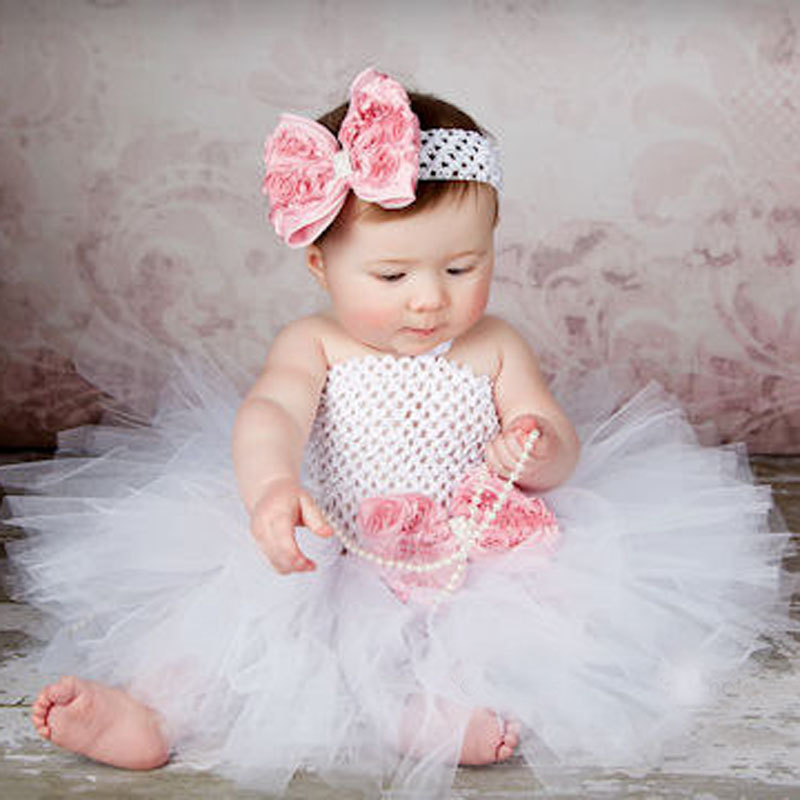 Toddler Girls Fancy Prinsesse Tutu Kjole Holiday Flower Double Layers Fluffy Baby Kjole med Headband Foto Props TS044