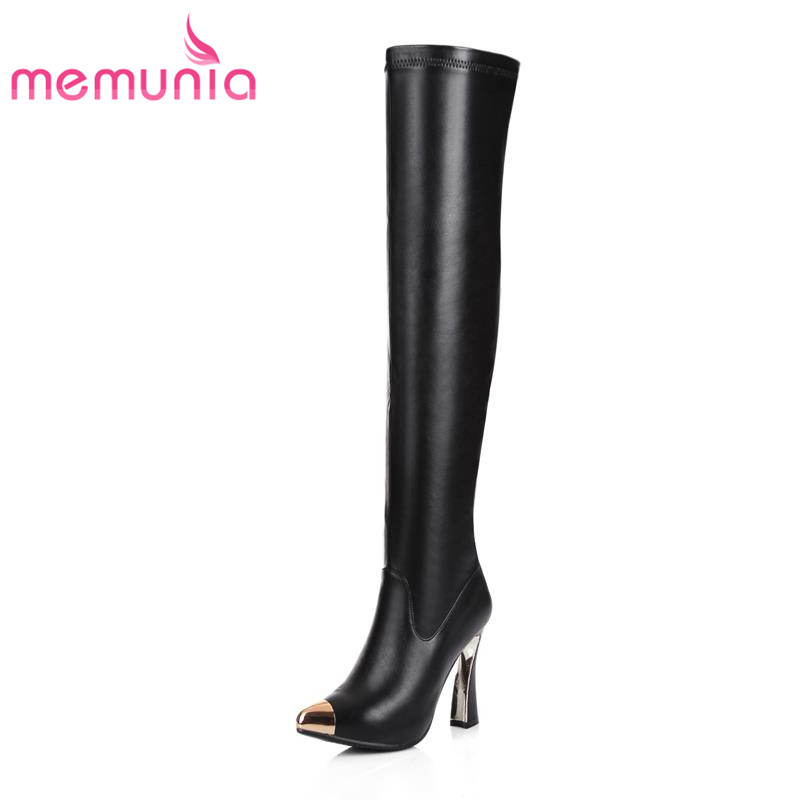 ФОТО New arrival 2017 fashion pu + genuine leather pointed toe over the knee high boots restoring women high heel winter zip shoes