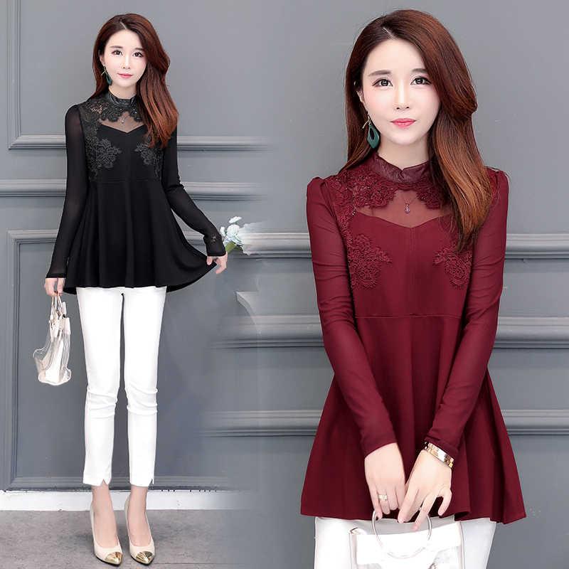 d75bb0340e8 ... Осень-зима основные рубашки блузки Для женщин Корея Дизайн Топ  элегантный леди живота туника блузки ...