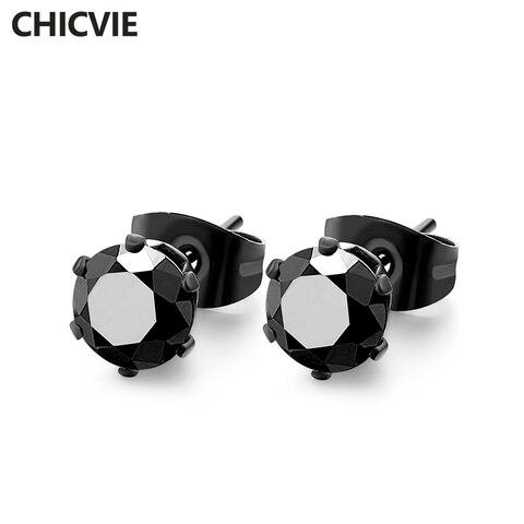 Купить серьги гвоздики с кристаллами женские 8 шт/комплект