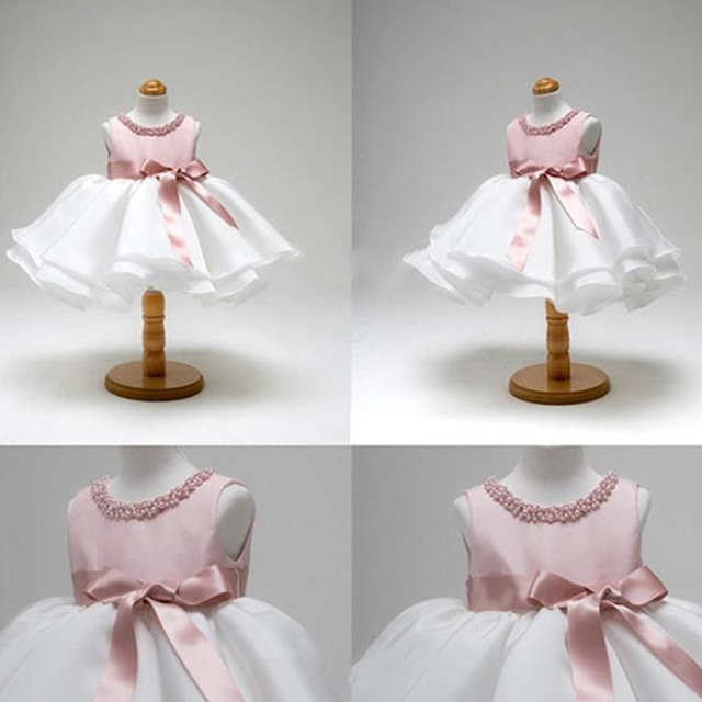 Mùa hè Công Chúa Nhỏ Cô Gái Ăn Mặc cho Toddler vestido infantil 1 t Sinh Nhật Đầu Tiên Màu Hồng Ăn Mặc cho Bé Gái Làm Lễ Rửa Tội Áo Choàng mặc