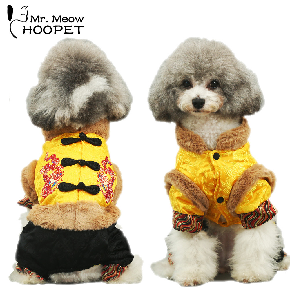 Pet Chinese Tang Clothes Dragon Traditional Costume Warm Thick Pet Dog Cat Winter Jumpsuit Jacket Suit
