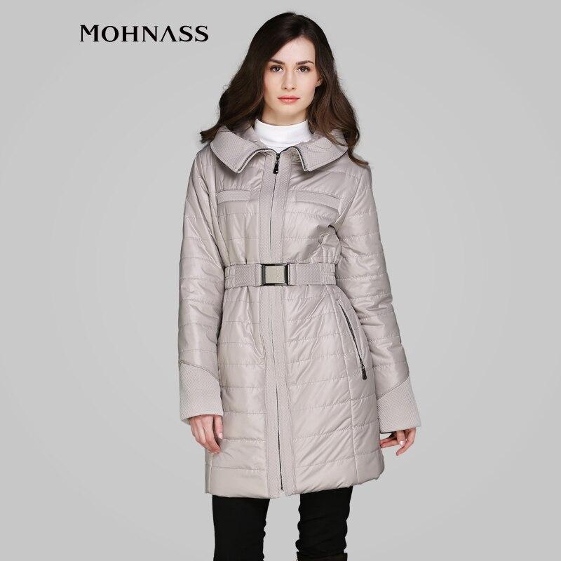MOHNASS 2015 Spring New Fashion Women Thin Padded Long Coat Tops Elegant Slim Belt wedding woman
