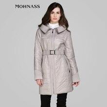 MOHNASS 2015 женский  синтепон весна новынка  длинный  модный пальто с капюшоном бояс высокое качество бесплатная доставка MC-5B7546-1
