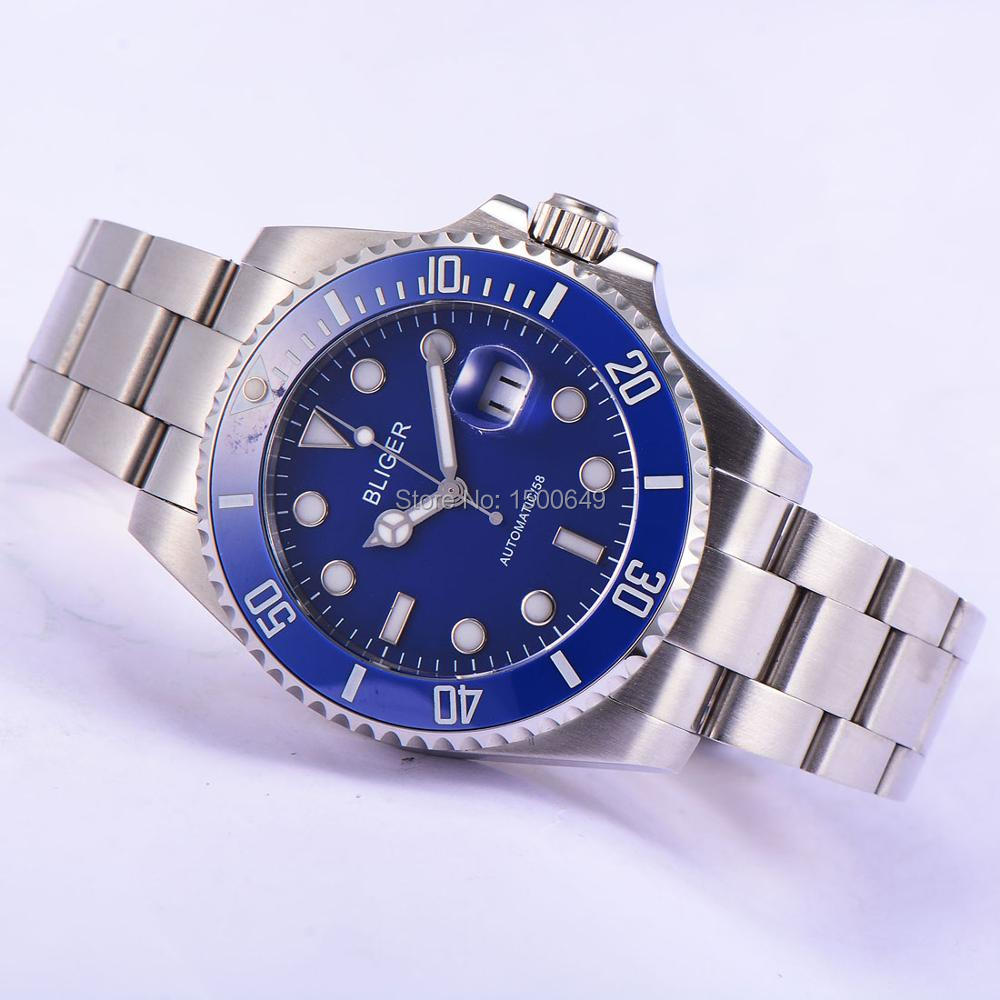 Bliger 43mm blue bezel blue dial Sapphire Glass black Ceramics Bezel Automatic Men's Watch 1883