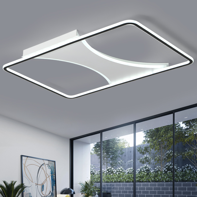 Éclairage de Lustre pour salon chambre Lustre Rectangle LED Plafond Vague Lustre AC85-265V lamparas de techo Lampe Moderne