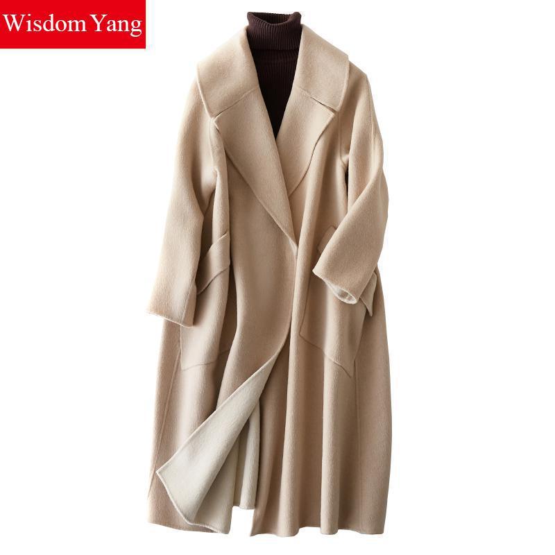 Élégant Manteau Survêtement Moutons Chameau Coat Lady khaki brown Femme Coat camel Coat Coat Femmes D'hiver Xlong 2018 Laine Casual Manteaux Kaki Lâche Beige De SrqwzS