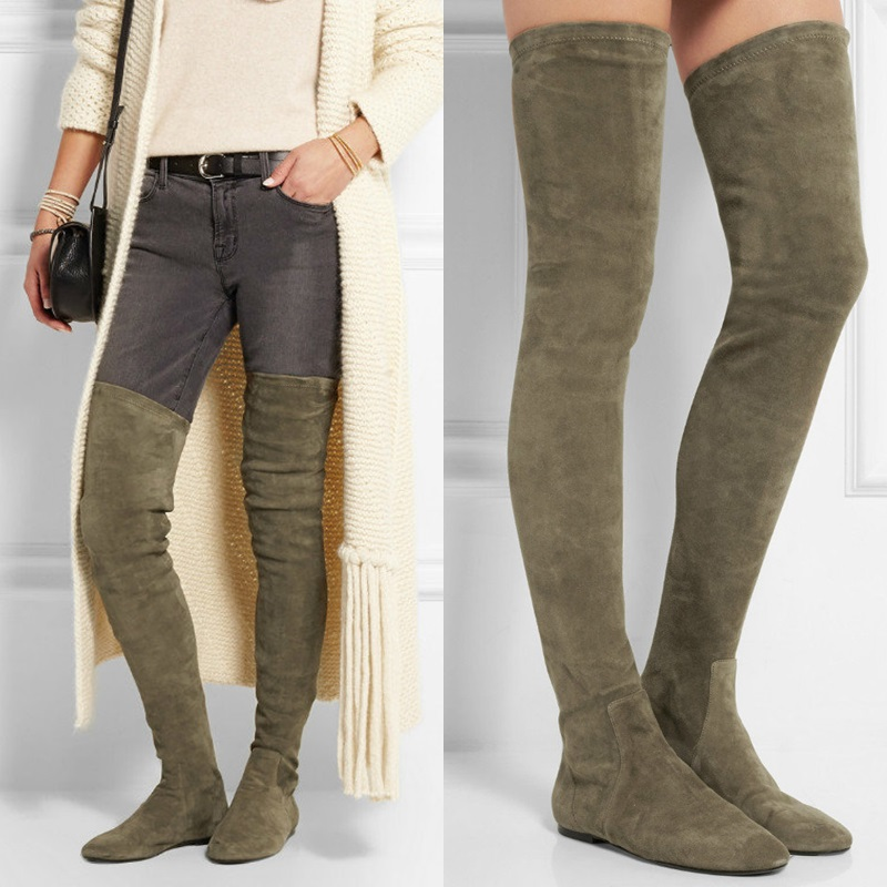 LTTL Botas Mujer Winter Stretch Suede Women Tall Boots Comfort Flat Bottom Over The Knee Boots Slip-On Thigh High Boots slip on winter boots stretch lycra
