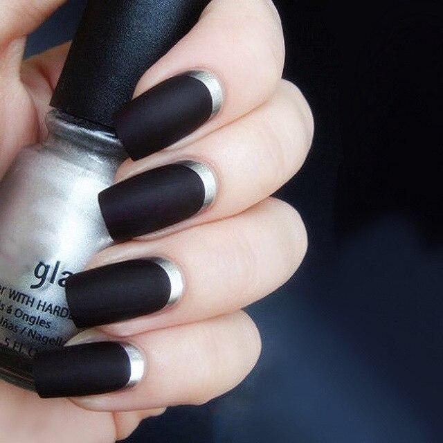 24pcs Set Matte Black Fake Nail Art With Silver Side Long Design Full Cover False