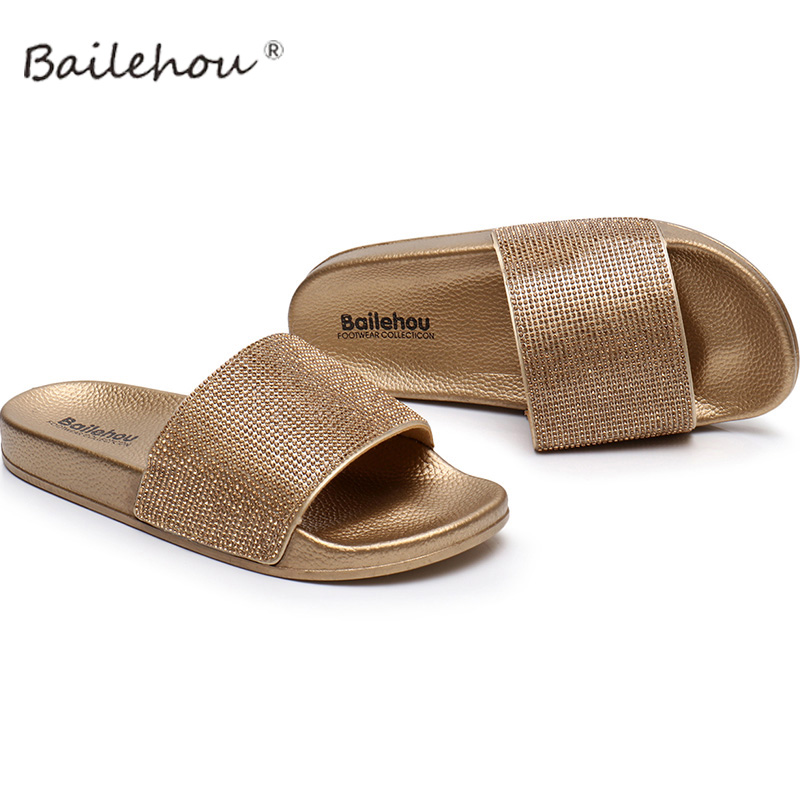 Women Slippers Shoes Gold Female Woman Shoes Crystal Summer Beach Women Flip Flops Slides Sandals Flat Slippers Ladies Shoes hot fashion summer women shoes women s metal c flat sandals female summer slippers flip flops ladies beach sandals femme chinelo