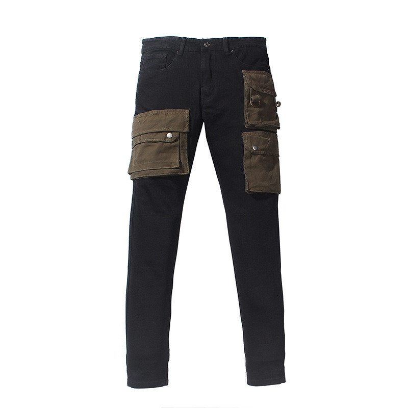 MORUANCLE Men Cargo   Jeans   With Muli Pockets Fashion Stretch Tactical Denim Trousers Pants For Male Size 30-36 Black