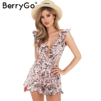 BerryGo Sexy Ruffle Floral Print Jumpsuit Romper Causal Hollow Out Summer Beach Playsuit Women Deep V