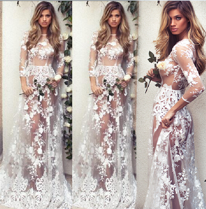 New Fashion Sexy Women's Summer Floral Long Dress Casual Ladies Clothing Long Sleeve Hollow Out Lace Clothes