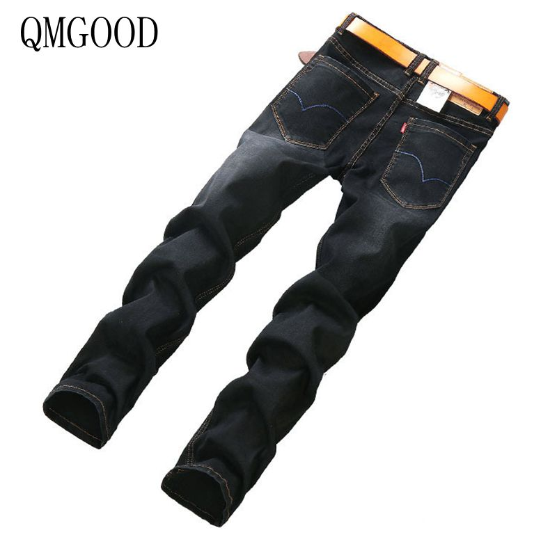 QMGOOD Jeans Men Europe and The United States Autumn and Winter New Men's Jeans Casual Straight Large Size Elastic Men's Jeans europe and the united states male patch slim straight personality five star embroidered hole flanging jeans