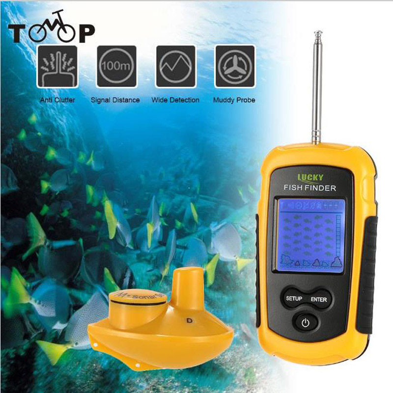 LUCKY FFFW1108-1 Wireless Fish Finder Sonar Sensor Transducer Depth Sounder Fishing Finder Alarm Fish Detector + Neck Strap lucky fishing sonar wireless wifi fish finder 50m130ft sea fish detect finder for ios android wi fi fish finder ff916