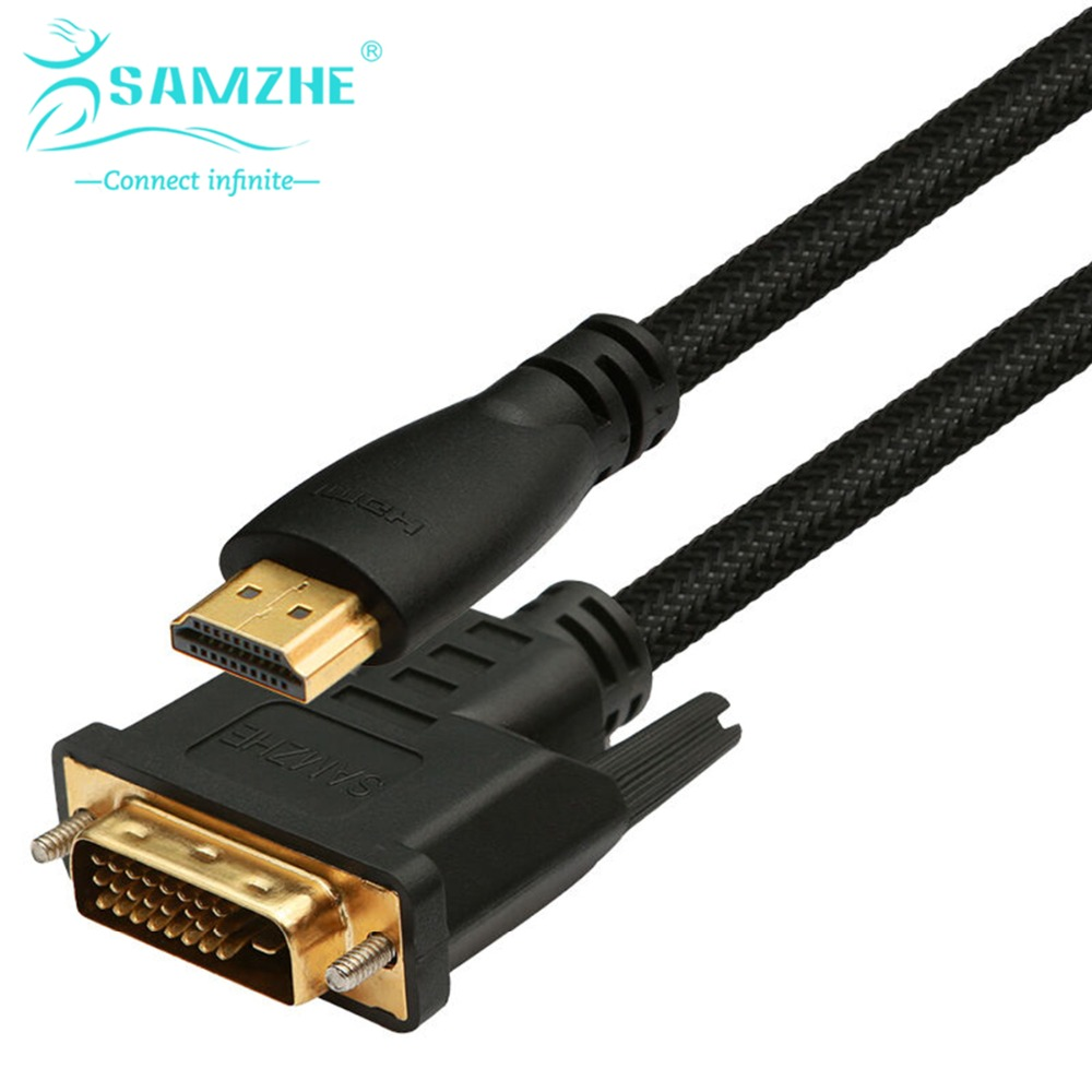SAMZHE HDMI to DVI Cable 2m/3m/5m HDMI Male to DVI Male 18+1 Pin Cable Adapter Support 1080P for HDTV Projectors PC