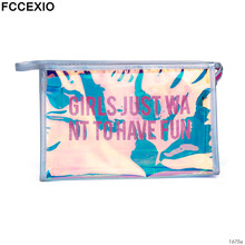 FCCEXIO PVC Sequins With Dazzling Letters Cosmetic Bag Fashion Makeup Travel Organizer Women Waterproof Wash bag