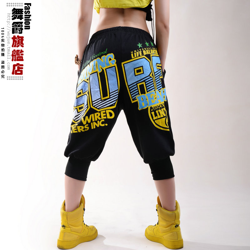 2014 New fashion Women Hip hop harem trousers  Pockets capris ds costume loose Letter pattern Black female dance pants