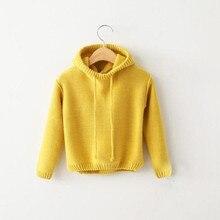 DFXD Korean Children Clothing Toddler Girl Sweater 2017 Autumn Winter Cotton Soild Hooded Knitwear Baby Girls Coat 2-8Y