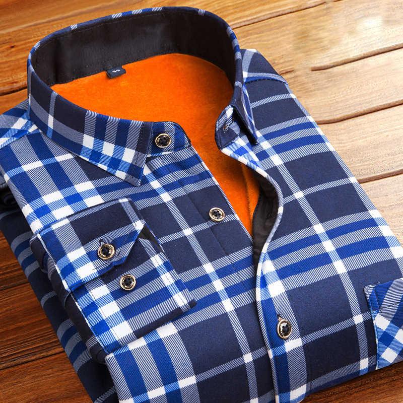 Autumn Winter Thick Flannel Warm Plaid Dress Shirts Men Long Sleeve Casual Slim Fit Camisa Social Shirts Plus Size 5XL Chemise