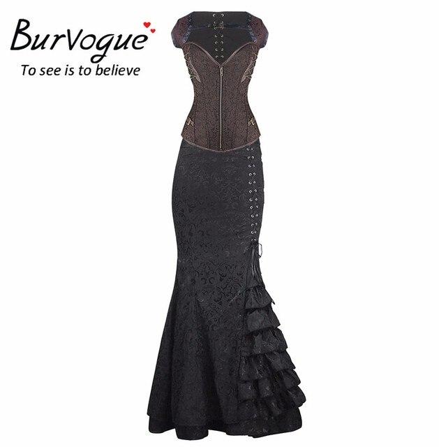 Burvogue Women Overbust Steampunk Corset Dress Summer Short Sleeves Long Length Corset Dress with Chain Gothic Corset Dress Set