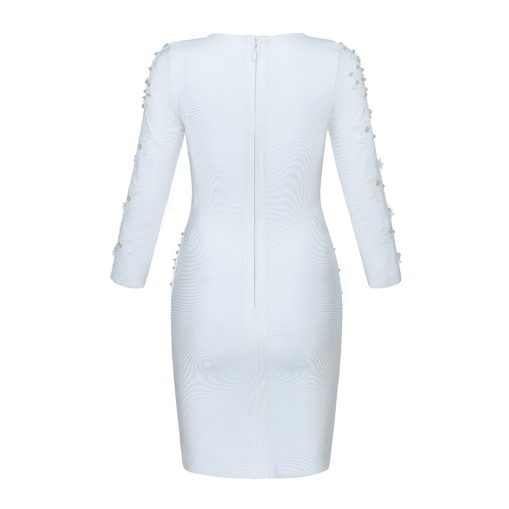 Halinfer 2018 новое зимнее женское сексуальное обтягивающее платье белое с круглым вырезом, украшенное бисером, вечерние мини платья beadag - 3