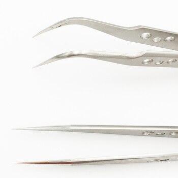 Pinzas curvadas rectas de precisión rectas de acero inoxidable con agujero antideslizantes antimagnéticas de 2 piezas para teléfono móvil herramienta de reparación