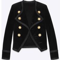 new Velvet Blazer Women Slim Long Sleeve ladies Blazer OL Formal Suit jacket Women Gold Button