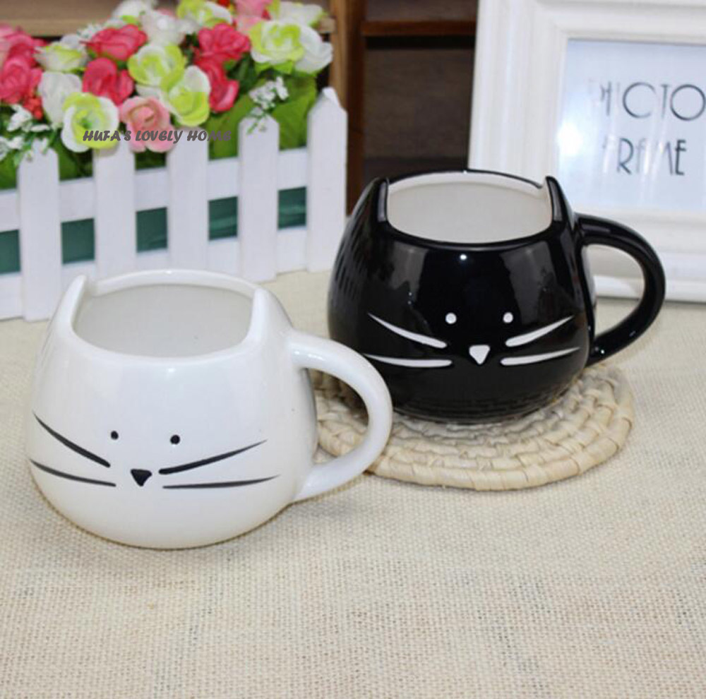 HUFA Cute Ceramic Coffee Mug Novelty Milk Tea Cups and Mugs Creative Cat Mugs Animal Mugs Drinkware Christmas Gift