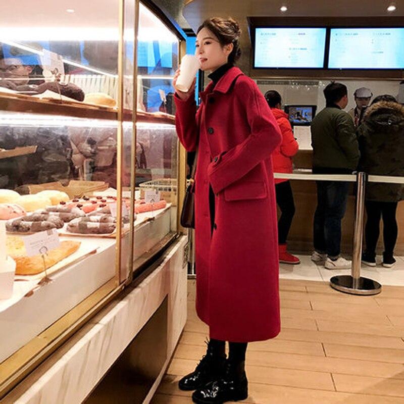 Зимнее шерстяное Женское пальто с длинным рукавом, теплое плотное шерстяное пальто, женская красная куртка, повседневное осенне зимнее эле...