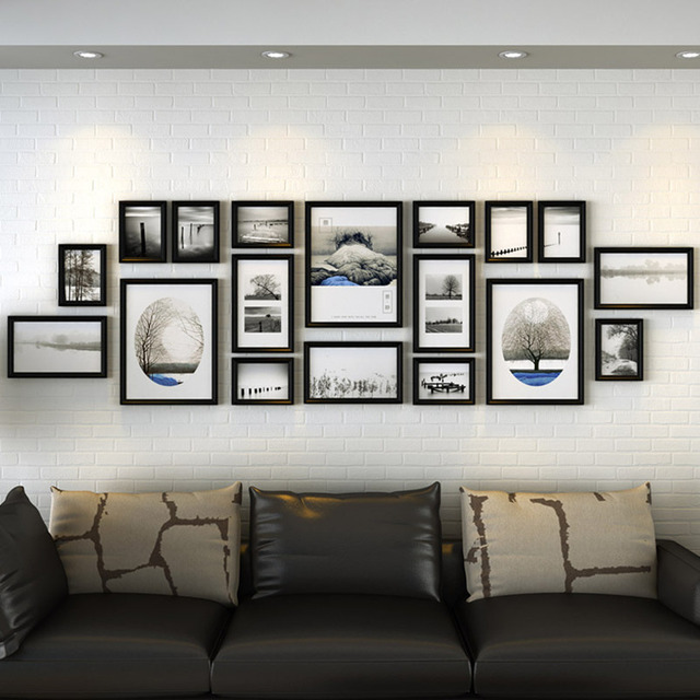 classical wooden black frames set for sofa wall background decor