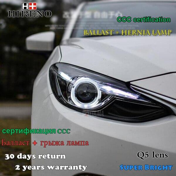 Hireno Headlamp For 2017 Mazda 3 Mazda3 Axela Headlight Embly Led Drl Angel Lens Double Beam Hid Xenon 2pcs