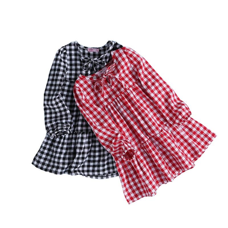 цены 2017 New Spring Fall Children Cotton Plaid Dresses Casual Baby Girls Long Sleeve Dress Vestido Infantil Kids Costume