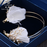 The New Bride Jewelry Handmade White Feather Wreath Headdress Wedding Simple Korean Hair Makeup Wedding Accessories