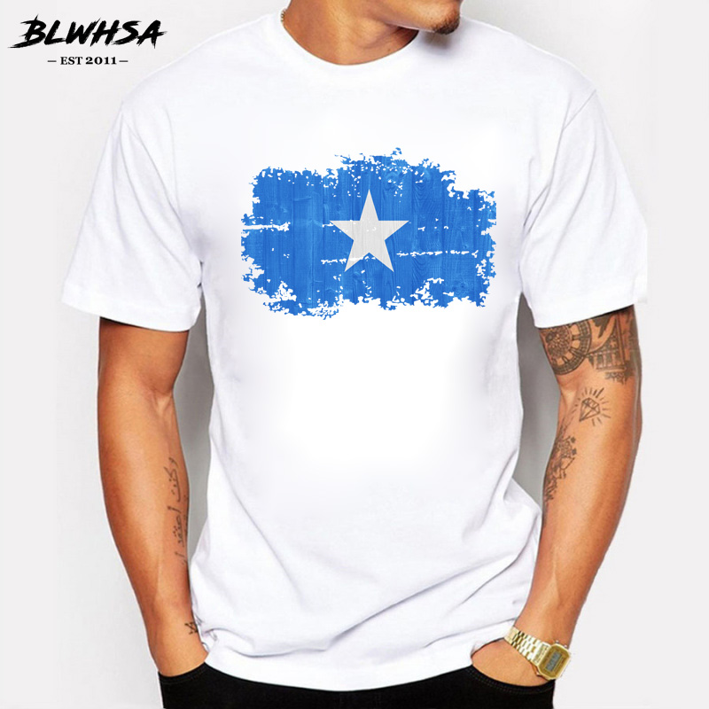 BLWHSA Summer Short Sleeve T-shirts for Men O-neck Somalia National Flag Nostalgic Style T Shirt Cotton Men Clothing Tops