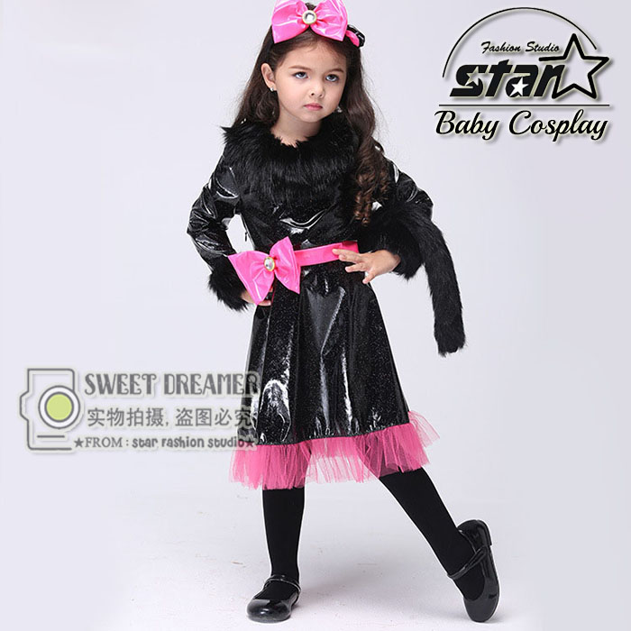 girls halloween party dresses baby kids catwoman performance costume children fanny masquerade clothing kitty cat party - Cat Outfit For Halloween