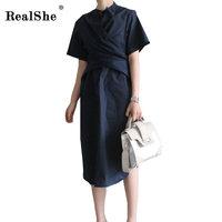 RealShe Casual Slit T Shirt Summer Dress Women Round Neck CrossSexy Beach Korean Style Midi Dress