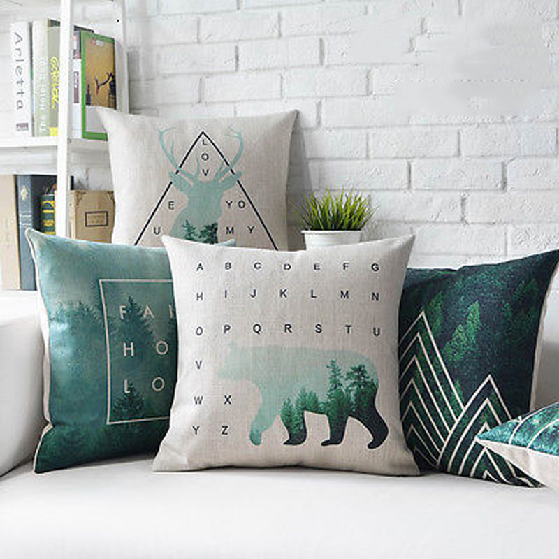 New Design Animal Deer Square Pillow Cases Cotton Linen Throw Pillow Cushion Cover DIY Cushion ...