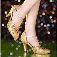 2017 Latin Dance Shoes Woman High Heel Silver Gold Cheap Ballroom Dancing Shoes Girls Gliter Closed Toe Salsa Shoes 5cm 8cm Heel