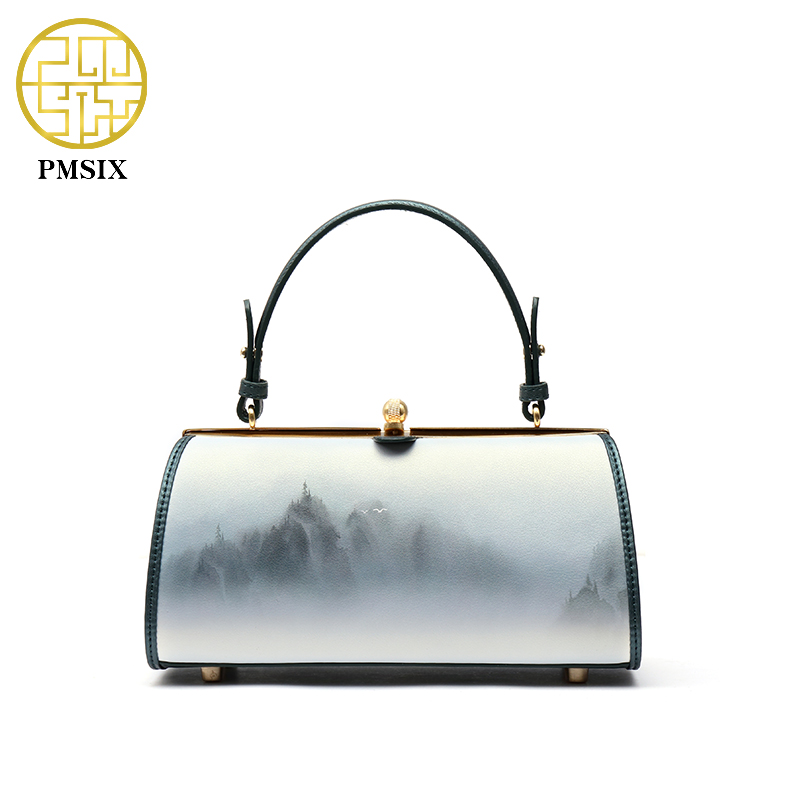 PMSIX 2017 New Landscape Printing Handbag High Quality Designer Women Bag Clasp Opening Ladies Bag Vintage <font><b>China</b></font> Bag 120139